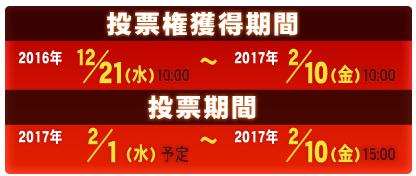 投票券獲得期間 2016.12.21(水)10:00~2017.2.10(金)15:00 投票期間 2017.2.1(水)予定~2017.2.10(金)15:00
