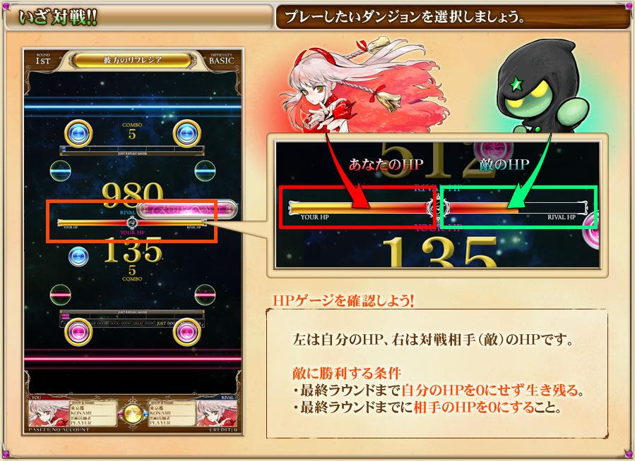 いざ対戦!HPゲージを確認しよう。左は自分のHP、右は対戦相手(敵)のHPです。【敵に勝利する条件】・最終ラウンドまで自分のHPを0にせず生き残る。・最終ラウンドで、自分のHPが敵のHPに上回ること。
